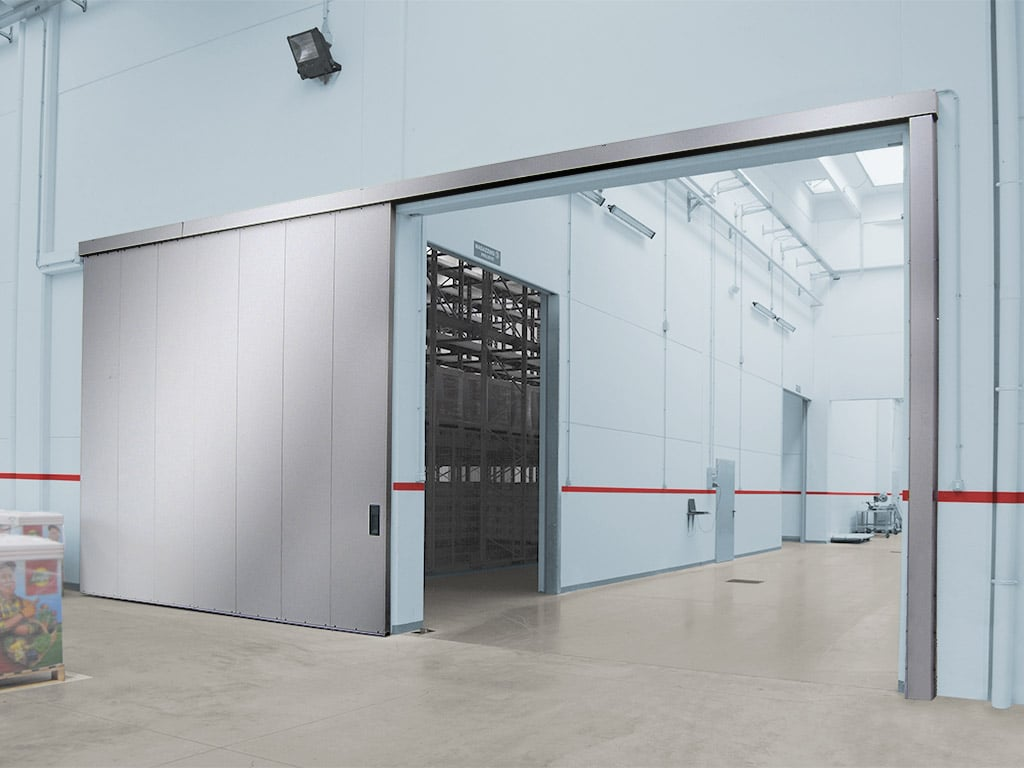 Stainless steel Single and double leaf sliding door with wicket